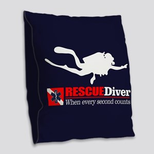 RESCUEDiver Burlap Throw Pillow