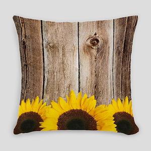 Rustic Barn Wood Sunflower Edge Everyday Pillow