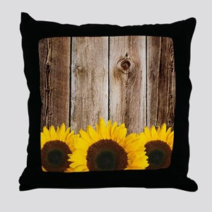 Rustic Barn Wood Sunflower Edge Throw Pillow