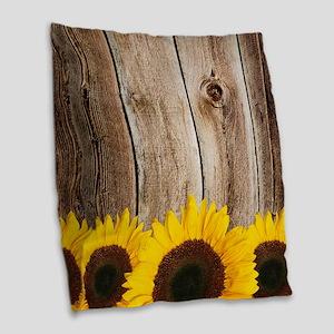 Rustic Barn Wood Sunflower Edge Burlap Throw Pillo