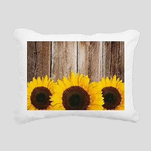 Rustic Barn Wood Sunflower Edge Rectangular Canvas