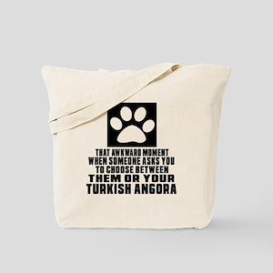 Awkward Turkish Angora Cat Designs Tote Bag