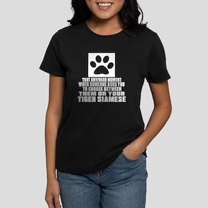 Awkward Tiger siamese Cat Des Women's Dark T-Shirt