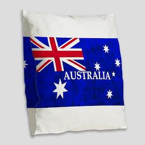 AUSTRALIAN FLAG Burlap Throw Pillow