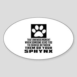 Awkward Sphynx Cat Designs Sticker (Oval)
