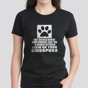 Awkward Singapura Cat Designs Women's Dark T-Shirt