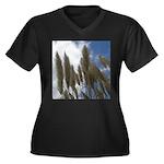 Pampas Grass and Sky Women's Plus Size V-Neck Dark