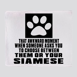 Awkward Siamese Cat Designs Throw Blanket