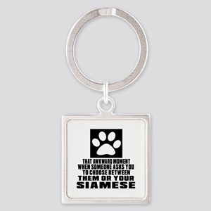 Awkward Siamese Cat Designs Square Keychain