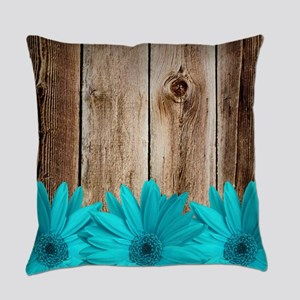 Rustic Barn Wood Teal Daisies Everyday Pillow