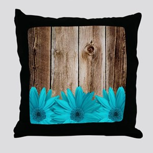 Rustic Barn Wood Teal Daisies Throw Pillow