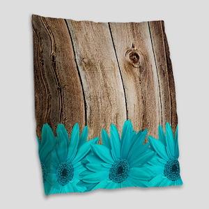 Rustic Barn Wood Teal Daisies Burlap Throw Pillow