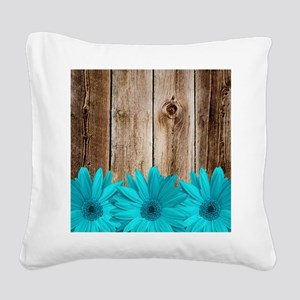 Rustic Barn Wood Teal Daisies Square Canvas Pillow