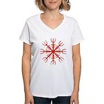 Red Aegishjalmur Women's V-Neck T-Shirt