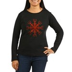 Red Aegishjalmur Women's Long Sleeve Dark T-Shirt