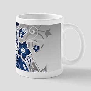 Blue & SilverGray Floral Mug