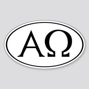 Alpha and Omega Oval Sticker