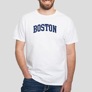 BOSTON design (blue) White T-Shirt