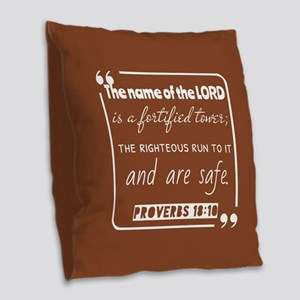 Proverbs 18:10 Inspirational B Burlap Throw Pillow
