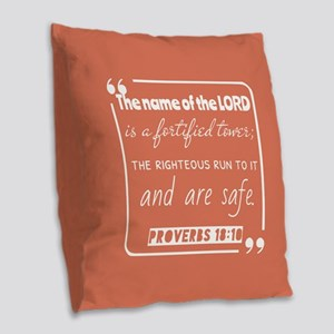 Proverbs 18:10 Bible Verse Burlap Throw Pillow