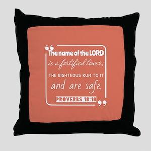 Proverbs 18:10 Bible Verse Throw Pillow