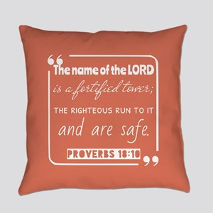 Proverbs 18:10 Bible Verse Everyday Pillow