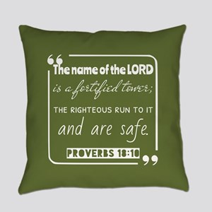 Proverbs 18:10 Bible Scripture Everyday Pillow