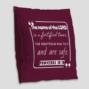 Proverbs 18:10 Bible Gateway Burlap Throw Pillow