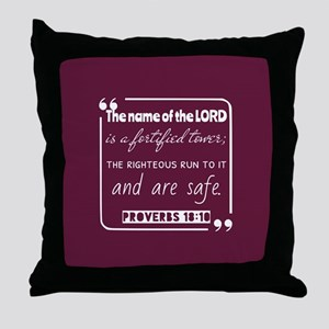 Proverbs 18:10 Bible Gateway Throw Pillow