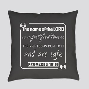 Proverbs 18:10 Christian Quote Everyday Pillow