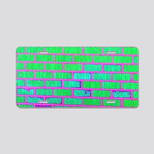 Urban Neon Brick Wall Aluminum License Plate