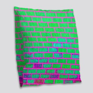 Urban Neon Brick Wall Burlap Throw Pillow