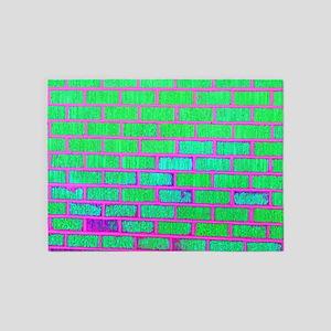 Urban Neon Brick Wall 5 X7 Area Rug