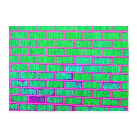 Urban Neon Brick Wall 5x7area Rug By Hopeshappyhome