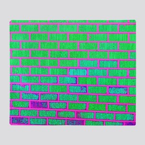 Urban Neon Brick Wall Throw Blanket
