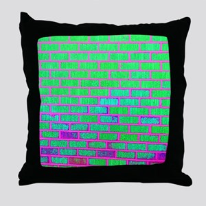 Urban Neon Brick Wall Throw Pillow