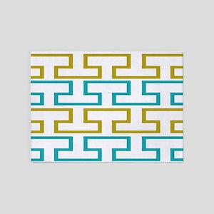 Seaweed and Ocean Blue Tiles 5'x7'Area Rug