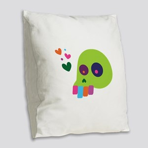 Rainbow Skull Burlap Throw Pillow