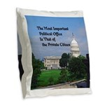 Political Office Burlap Throw Pillow