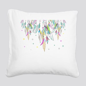 Dreamcatcher Feathers Square Canvas Pillow
