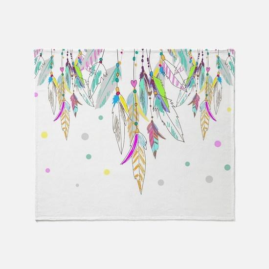 Dreamcatcher Feathers Throw Blanket