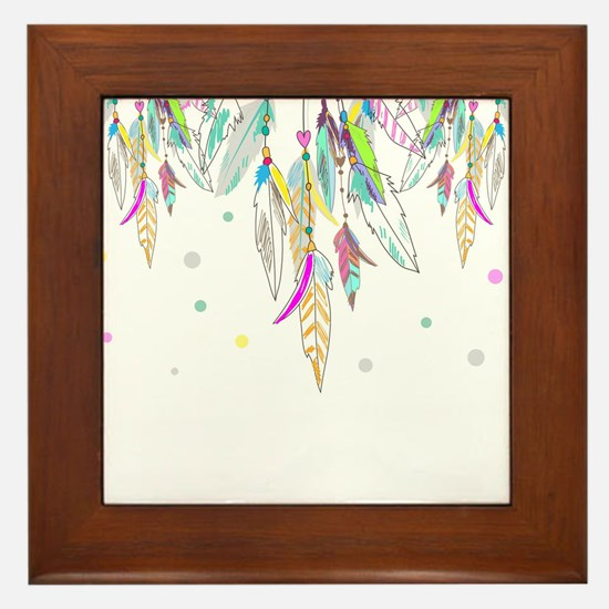 Dreamcatcher Feathers Framed Tile