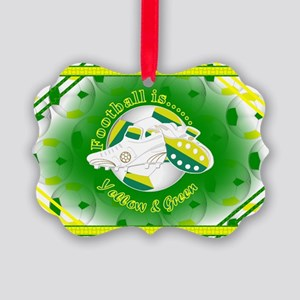 Yellow and Green Football Soccer Ornament