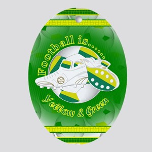 Yellow and Green Football Soccer Oval Ornament