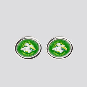 Yellow and Green Football Soccer Oval Cufflinks