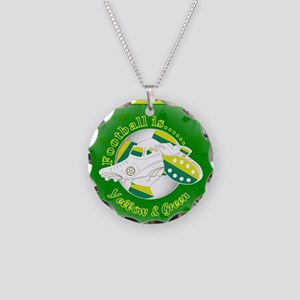Yellow and Green Football Soccer Necklace