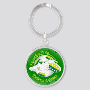 Yellow and Green Football Soccer Keychains