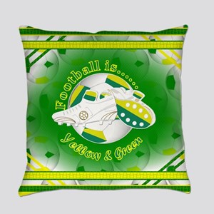 Yellow and Green Football Soccer Everyday Pillow