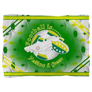 Yellow and Green Football Soccer Pillow Sham