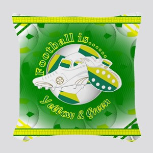 Yellow and Green Football Soccer Woven Throw Pillo